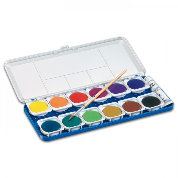 Staedtler Wasserfarben Kasten mit 12 Farben Farben Ø 30mm, inkl. Deckweiß 7,5ml, 1 Pinsel