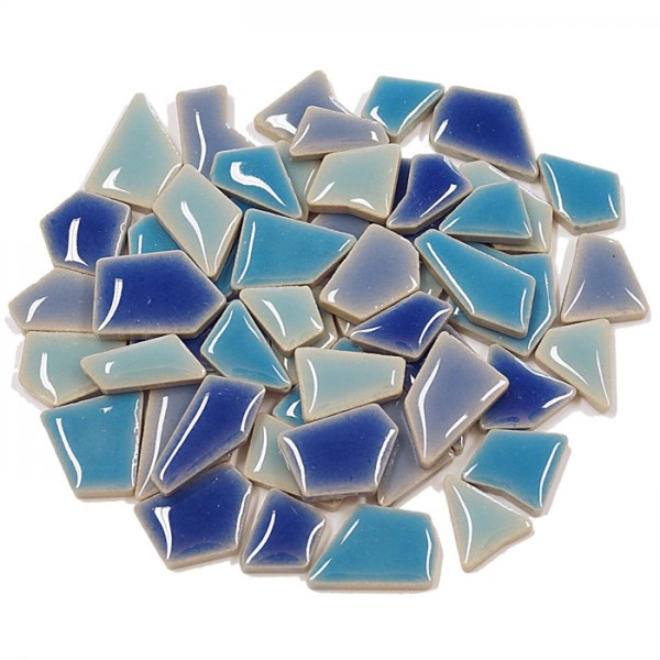Flip-Keramik Mini 200g ca. 160 Steine blau mix 5-20mm, ca. 4mm