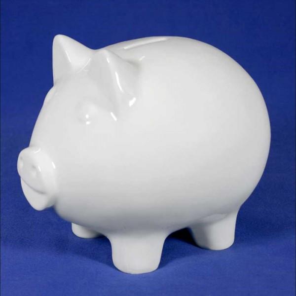 Sparschwein groß Porzellan 17x12x12cm weiß mit Gummistopfen
