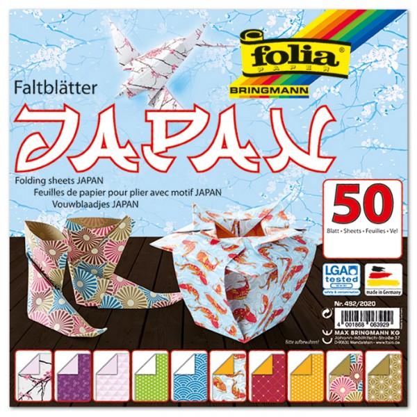 Faltblätter 80g/m² 15x15cm 50 Bl. Japan 10 Designs, Rückseite uni