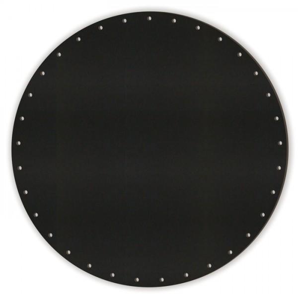 Korbflechtboden MDF 8mm Ø20cm rund schwarz 33 Bohrungen 3mm, beids. m. Kreidetafellack beschichtet