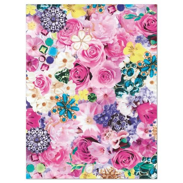 Decoupagepapier Rosen rosé/blau von Décopatch, 30x40cm, 20g/m²