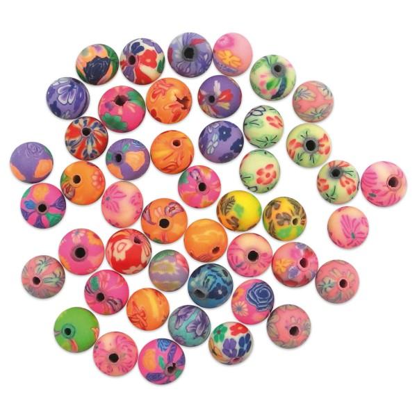 Fimo-Perlen Blumen Mix Ø 8mm rund 100 St. Lochgröße 1,2mm