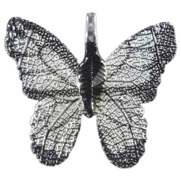 Metallanhänger Schmetterling silberfarben türkis-schwarz ca. 30x27mm, Lochgröße ca. 4x7mm