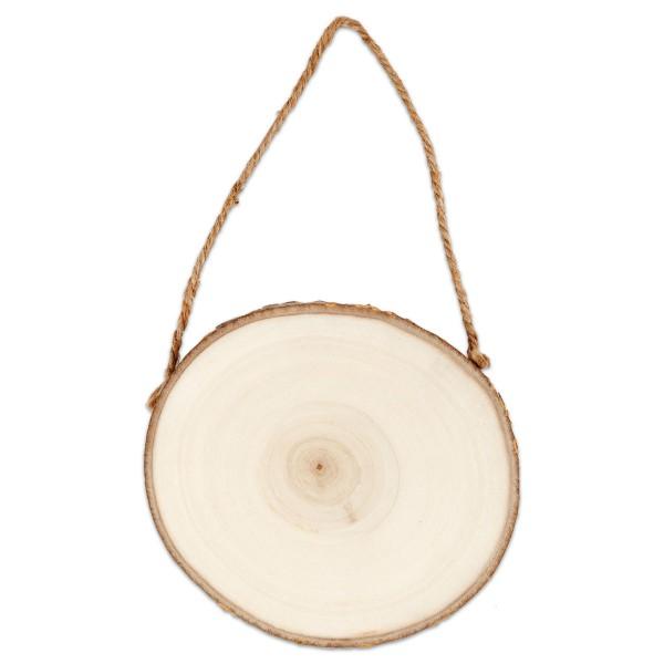 Türschild Holz mit Rinde Ø ca. 12-14cm Stärke 1,5cm, mit Aufhängeschnur