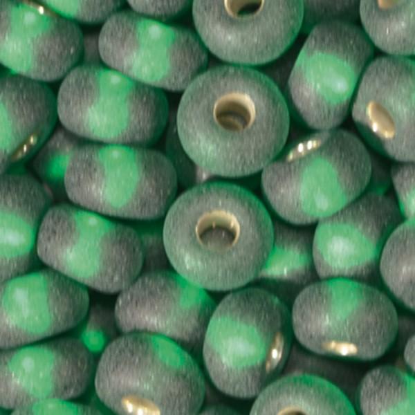 Rocailles transparent matt 4,5mm 17g grün Silbereinzug, Glas, Lochgr. ca. 1mm