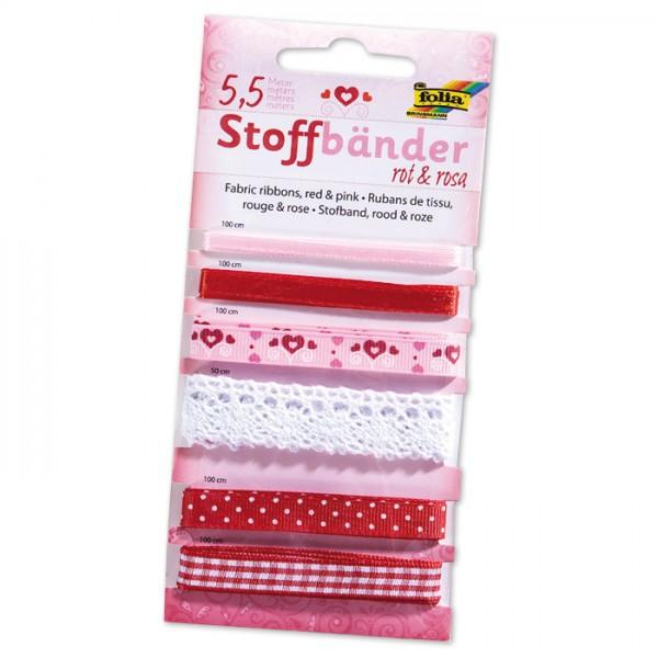Stoffbänder 6 Designs 5,5m rot/rosa 100% Polyester