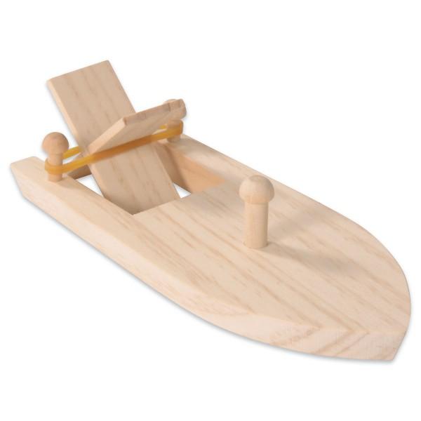 Holzboot mit Gummiantrieb 17x7,5x4cm natur ab 3 Jahren