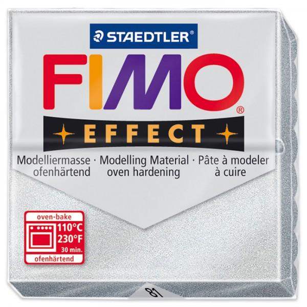 FIMO effect 55x55x15mm 57g metallic silberfarben ofenhärtende Modelliermasse