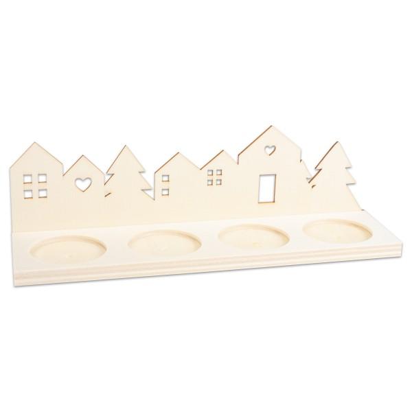 Adventskerzenhalter Holz ca. 6,5x22x1cm für 4 Teelichter natur 2 Teile zum Zusammenstecken