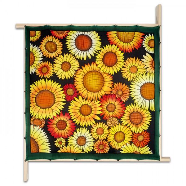 Tuch Gutta schwarz 90x90cm Sunflowers naturweiß 100% Seide, Seide Pongé 08
