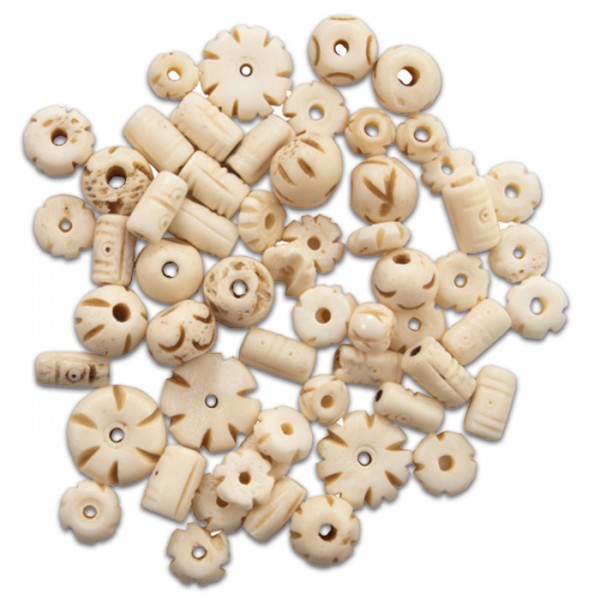 Knochenperlen-Mix ca. 8-25mm 30-40g beige Lochgr. ca. 1,5-2mm
