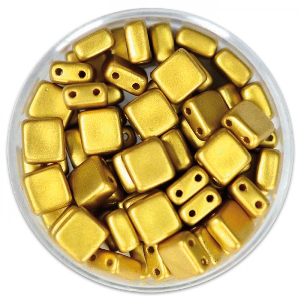 DeluXes 2-Hole Square 6mm 35 St. goldfarben Glas, Lochgr. ca. 0,9mm
