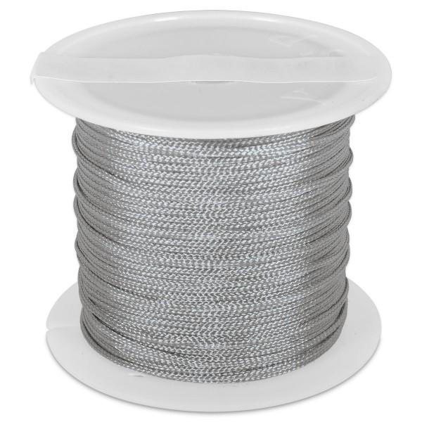 Knüpfgarn glänzend 1mm 5m grau 100% Polyester