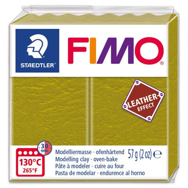 FIMO Leder-Effekt 55x55x15mm 57g olive ofenhärtende Modelliermasse, leather effect