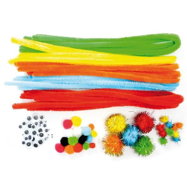 Bastel-Set Chenille Sommerfarben 20 Draht à 50cm, Pompons&Wackelaugen