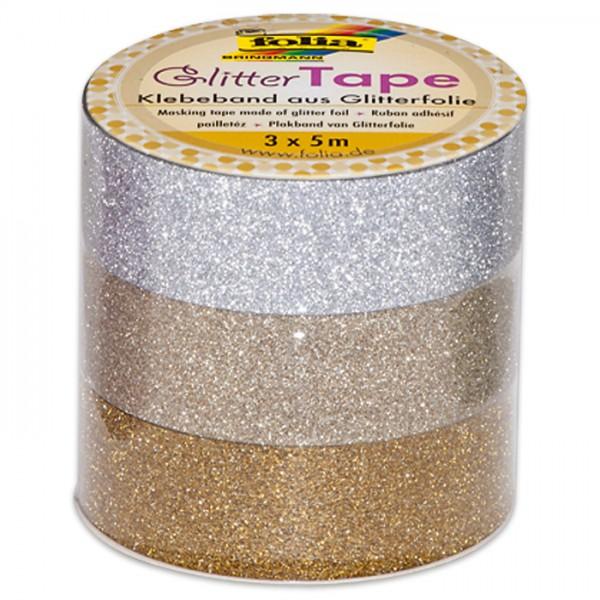 Glitter-Tape Papier 15mm 3x5m silber/hellgold/gold Klebeband