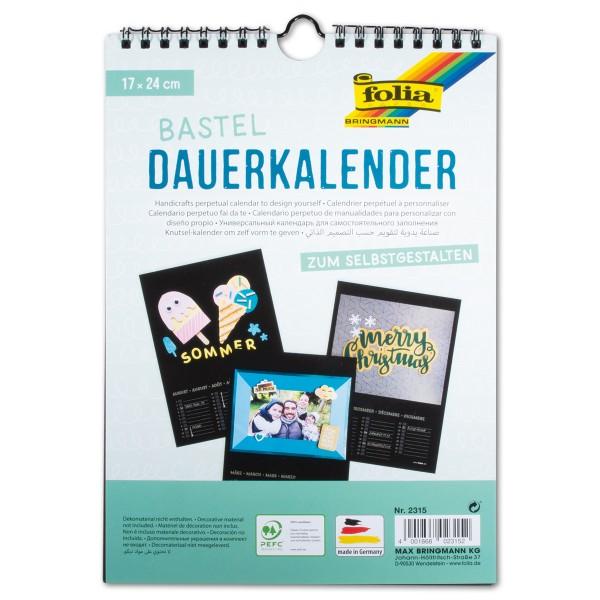 Dauerkalender Papier 17x24cm 13 Bl. schwarz/silberf. 220g/m²