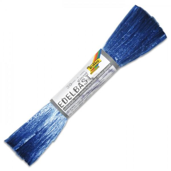 Edelbast glänzend Kunstfaser 30m königsblau