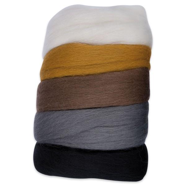 Kammzugwolle Merino 50g weiß/braun/schwarzton 100% Wolle vom südamerikanischen Merinoschaf
