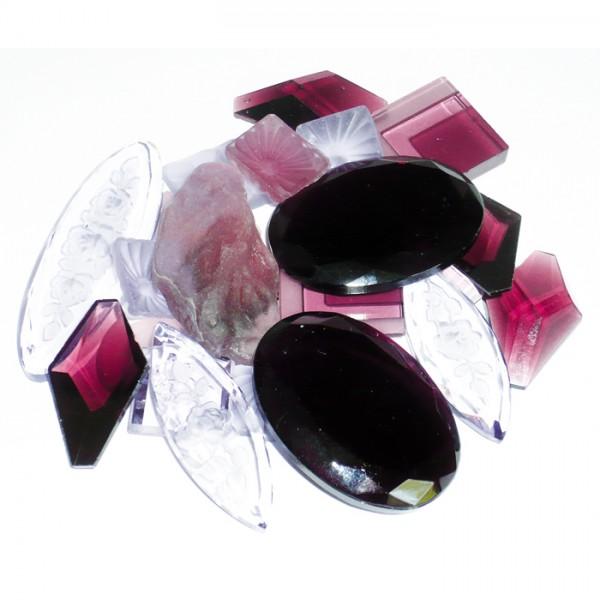 Glassteine gemischte Formen 100g amethyst