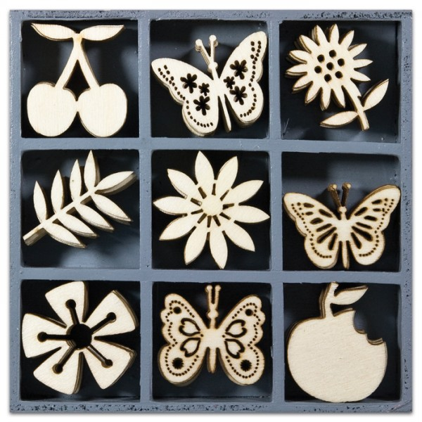 Mini-Holzornamente Obst/Schmetterl. 45 St. natur 23-30mm