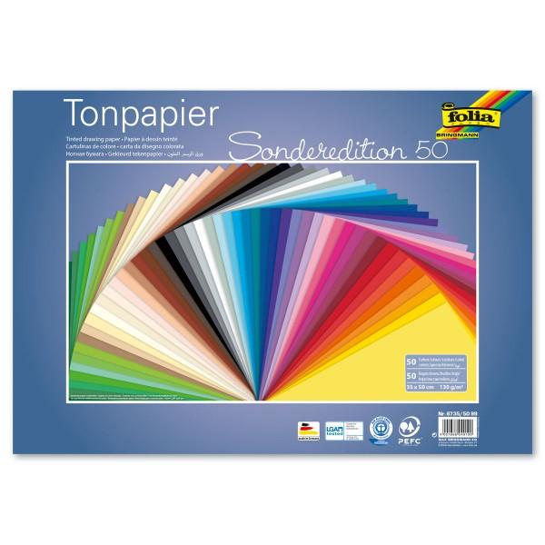 Tonpapier 130g/m² 50x70cm 50 Bl./Farben