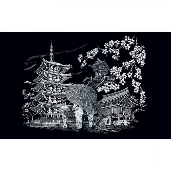 Kratzbild silber 28,6x39cm Kyoto Tempel