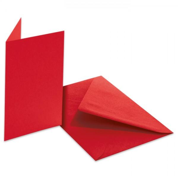 Doppelkarten 220g/m² 10,5x15cm 5 St. hochrot inkl. Kuvert&Einlegeblatt