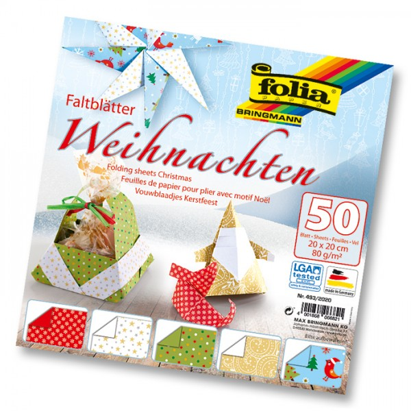 Faltblätter 80g/m² 10x10cm 50 Bl. Weihnachten 5 Designs, Rückseite uni