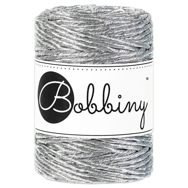 Bobbiny 3PLY Makramee Kordel Ø3mm metallic silver ca. 200g-300g, 81% Baumwolle, 19% Polyester,LL 50m