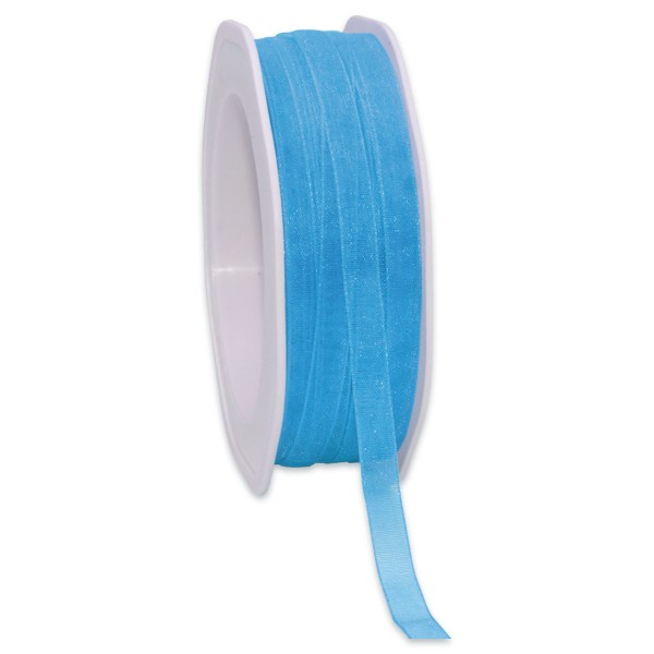 Organzaband 7mm 50m azurblau mit Webkante, 100% Polyester