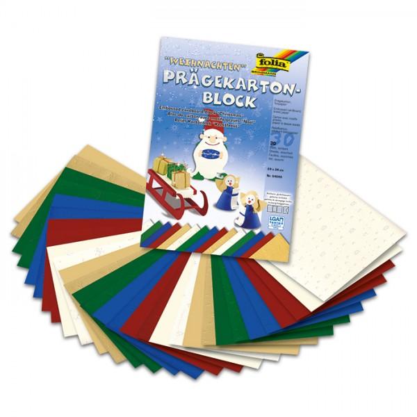 Prägekarton Weihnachten 24x34cm 30 Bl. 15xPrägekarton 220g/m², 15xTonpapier 130g/m²