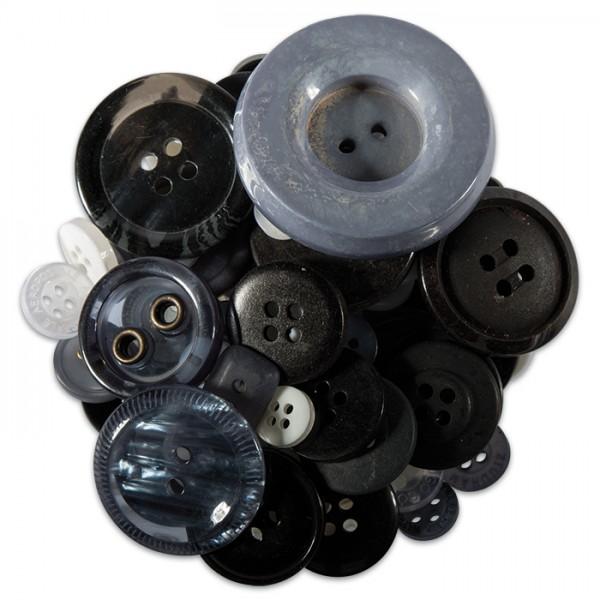 Knöpfe-Mix Kunststoff 9-38mm 100g Grau-Schwarz-Ton