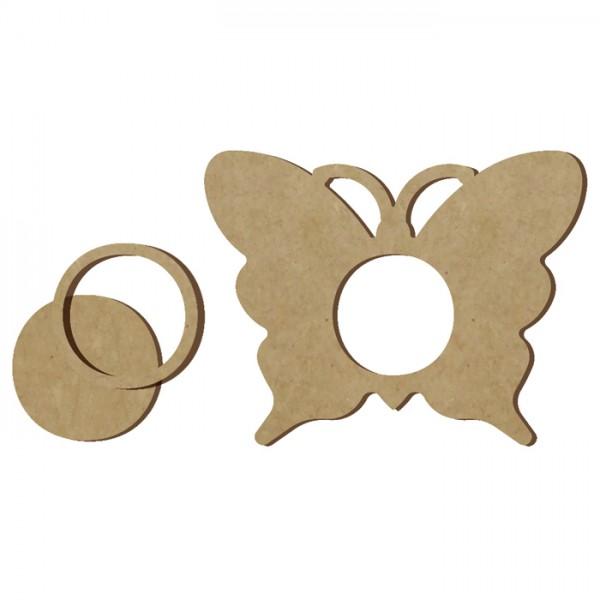 Teelichthalter Schmetterling MDF ca. 13cm