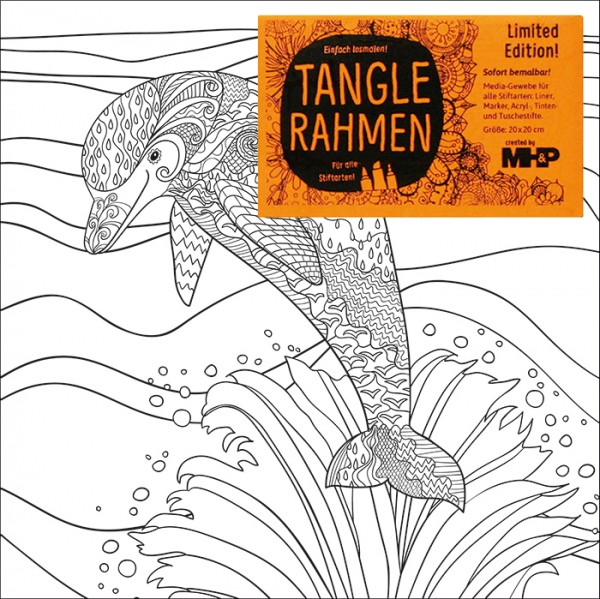 Tangle-Keilrahmen 20x20x2cm Delfin