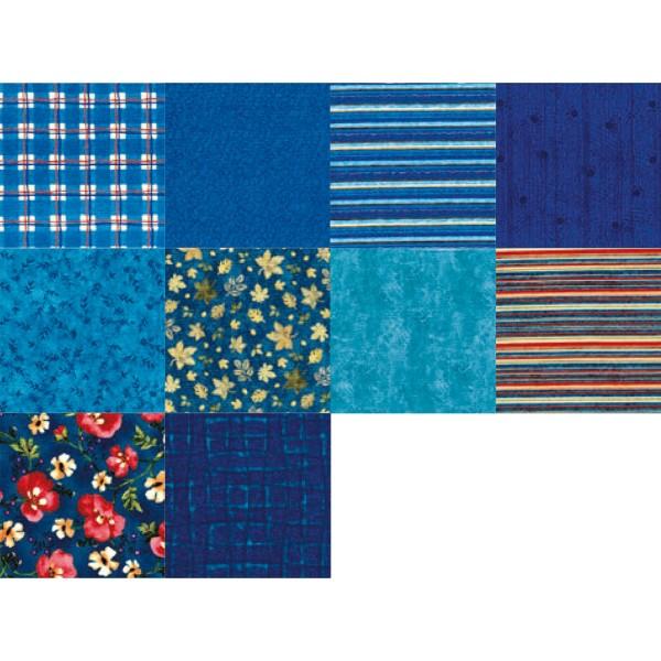 Patchwork-Set 10 Zuschnitte à 45x55cm marineblau 100% Baumwolle, 140g/m²