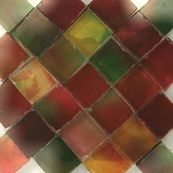 Glasmosaik 1x1cm ca. 850 Steine 500g rot-grün transparent, ca. 2mm stark