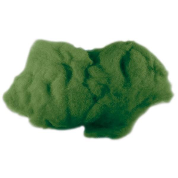 Krempelwolle max. 27mic 100g dunkelgrün 100% Wolle von neuseeländischen Schafen