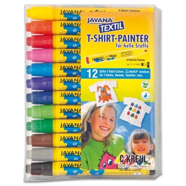 Texi-Mäx Sunny Stoffmalstifte Set 12 St./Farben Strichbreite 2-4mm