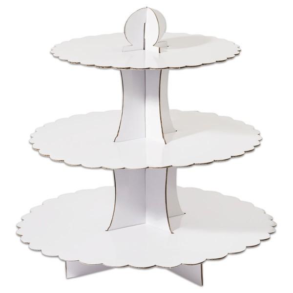 Papp-Etagere mit 3 Ebenen 35cm hoch weiß