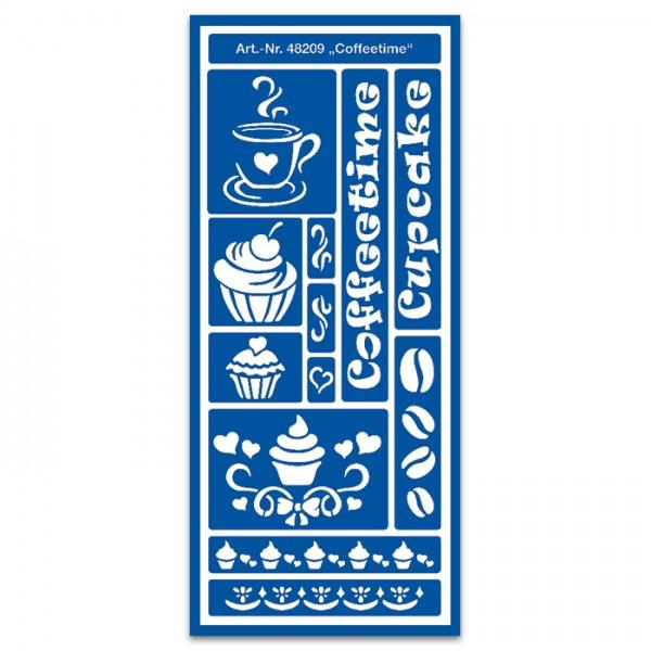 Schablone selbsthaft. 32x13cm Coffeetime