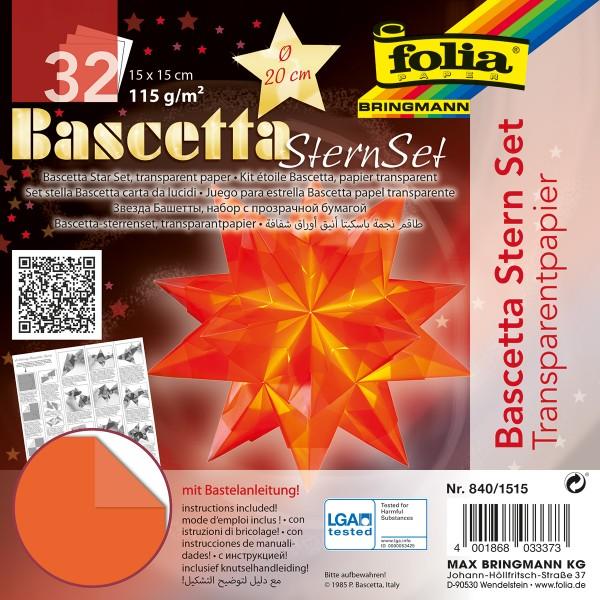 Bascetta-Stern ca. Ø 20cm 32 Bl. orange 15x15cm, Transparentpapier, 115g/m²