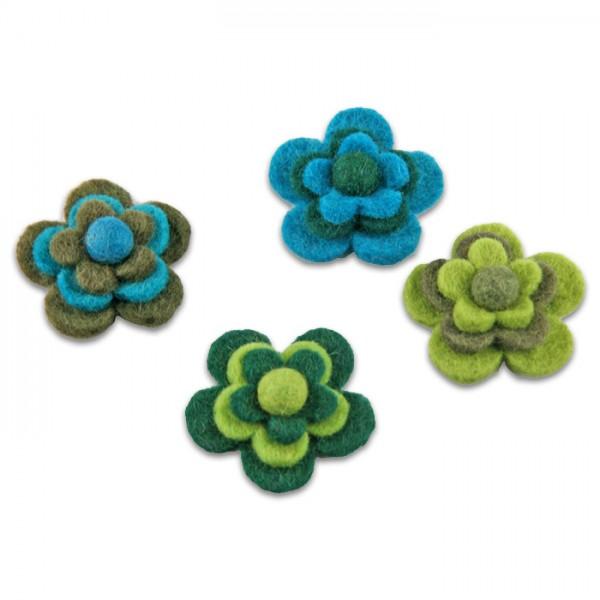 Filzblüten Ø 5cm 4 St. grün-türkis 100% Polyester