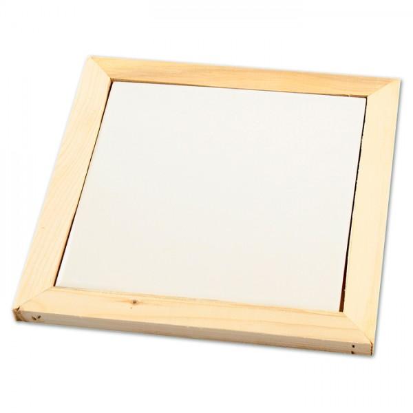 Untersetzer mit Holzrahmen 15x15cm natur Fliese aus weißem Porzellan