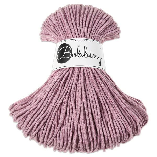 Bobbiny Rope-Garn Junior Ø3mm dusty pink ca. 200g-300g, 100% Baumwolle, LL 100m, Nadel Nr. 8-10