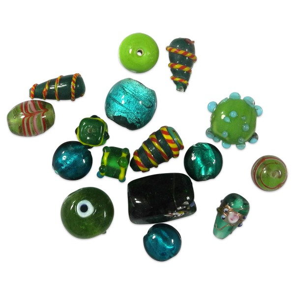 Glasperlen glänzend 9-15mm 100g grün handgefertigt, Lochgr. ca. 0,9-1,5mm