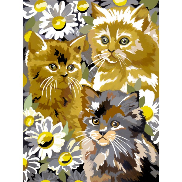 Malen nach Zahlen 22,2x29,8cm Kätzchen mit Blüten
