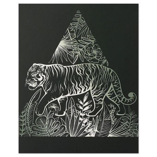 Kratzbild silber 25x20cm Tiger