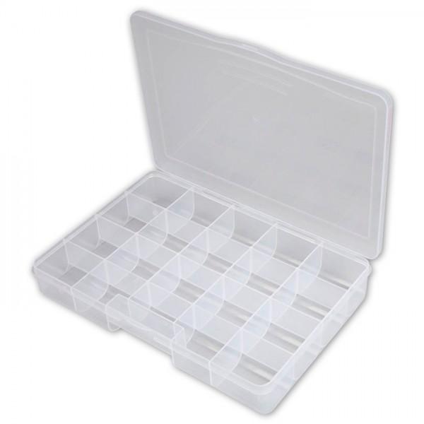 Sortimentskasten 4,3x27x19cm 18 Fächer transparenter Kunststoff